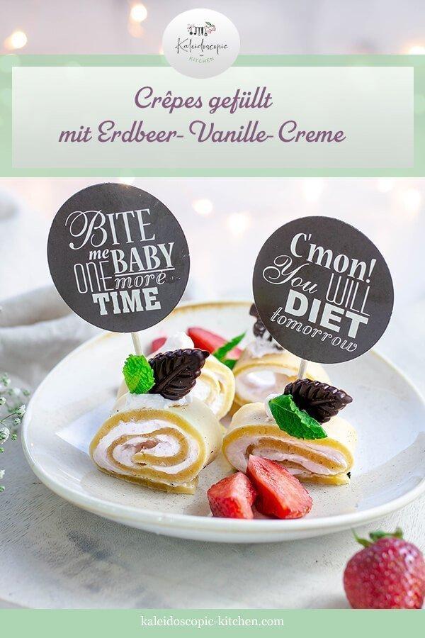 Gefüllte Crêpes mit Erdbeer - Vanille - Creme als Fingerfood
