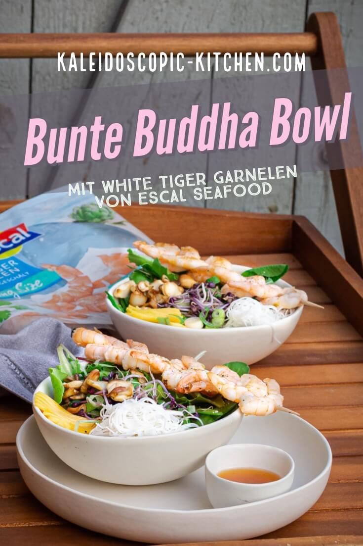Zwei bunte Buddha Bowls mit White Tiger Garnelen von Escal Seafood