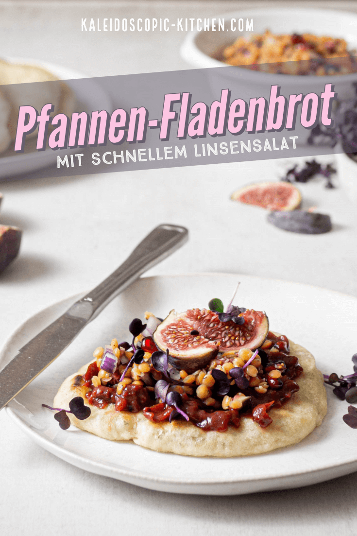 Pfannen-Fladenbrot mit schnellem Linsensalat