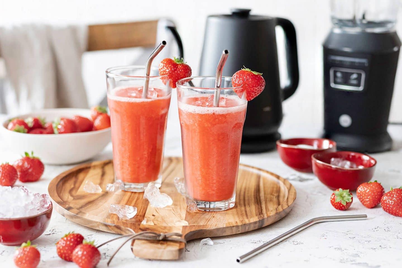 Erdbeer Slush Eis für Kinder selber machen